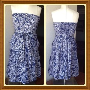 American Eagle strapless dress paisley print blue